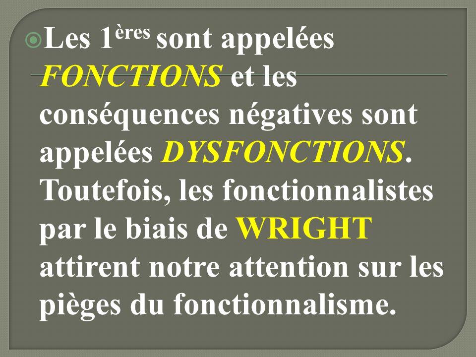 Les 1ères sont appelées FONCTIONS et les conséquences négatives sont appelées DYSFONCTIONS.