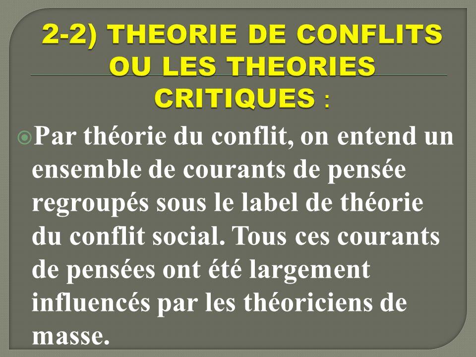 2-2) THEORIE DE CONFLITS OU LES THEORIES CRITIQUES :