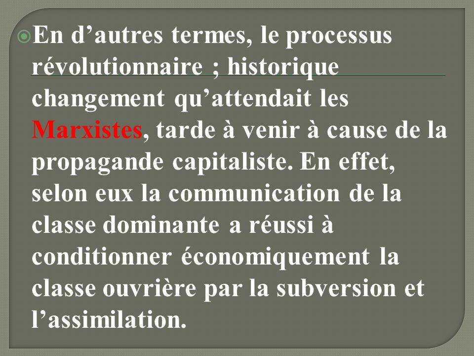 En d'autres termes, le processus révolutionnaire ; historique changement qu'attendait les Marxistes, tarde à venir à cause de la propagande capitaliste.