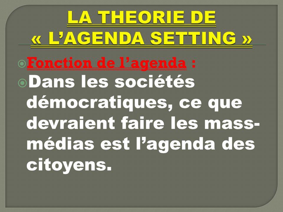 LA THEORIE DE « L'AGENDA SETTING »