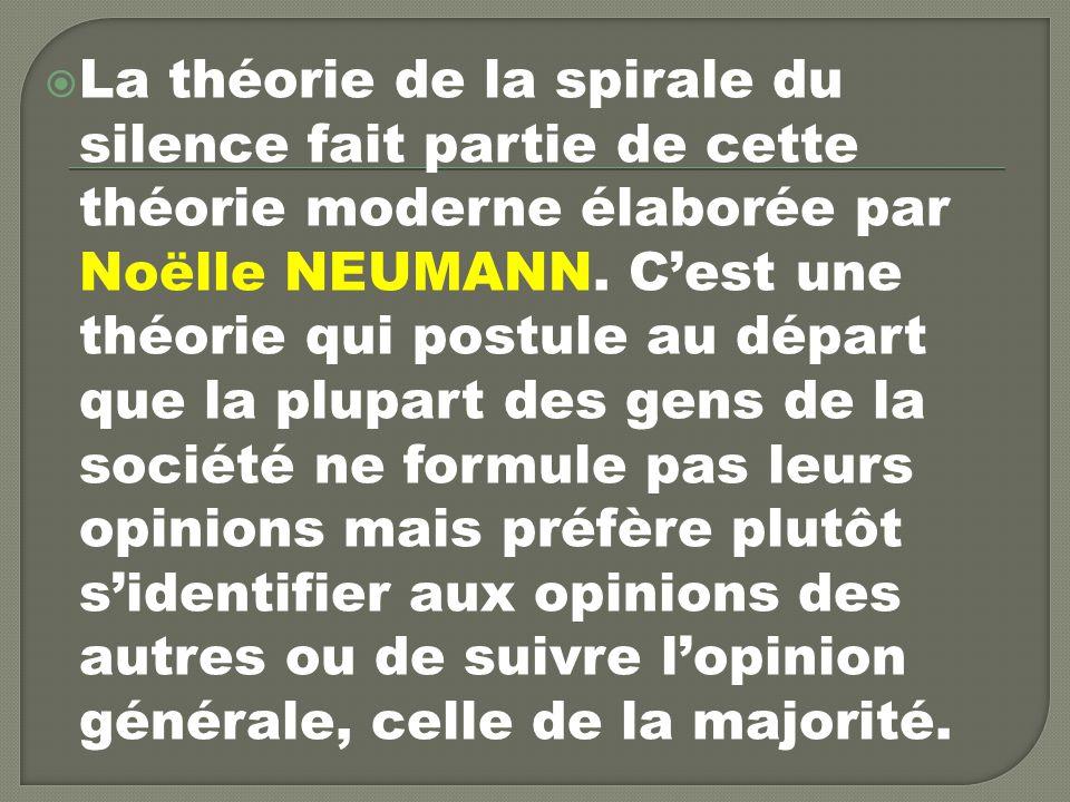 La théorie de la spirale du silence fait partie de cette théorie moderne élaborée par Noëlle NEUMANN.