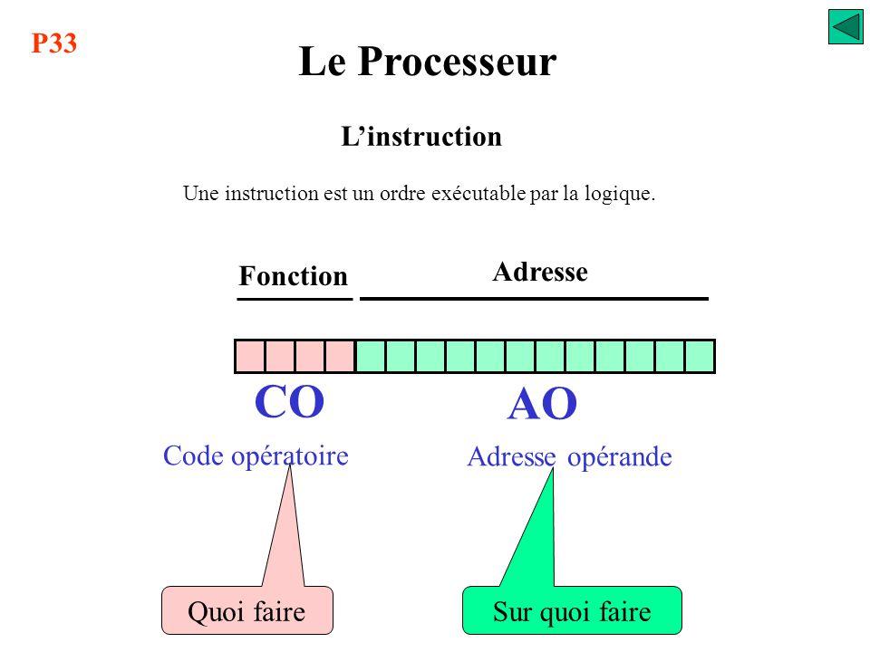 CO AO Le Processeur P33 L'instruction Fonction Adresse Code opératoire