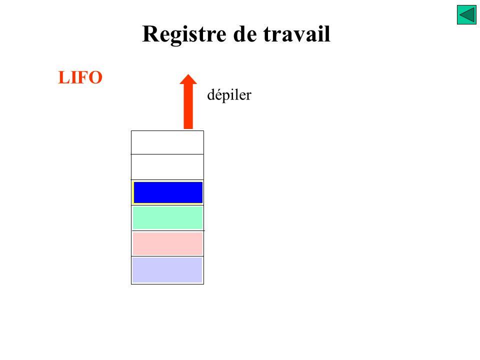 Registre de travail LIFO dépiler 299