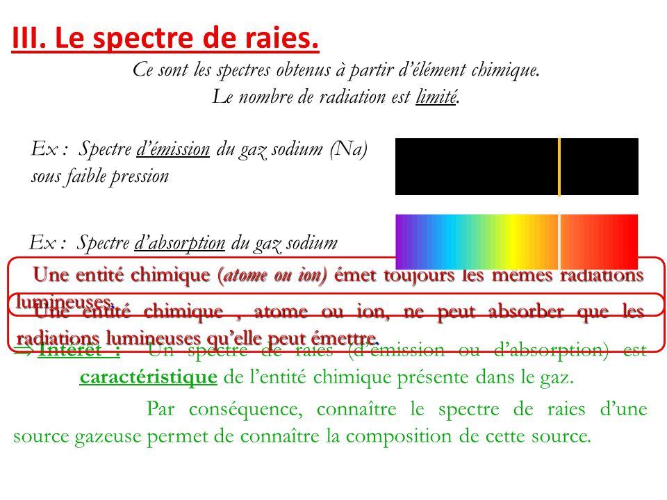 III. Le spectre de raies. Ce sont les spectres obtenus à partir d'élément chimique. Le nombre de radiation est limité.