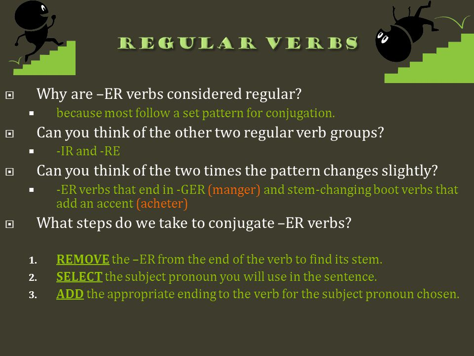 Why are –ER verbs considered regular