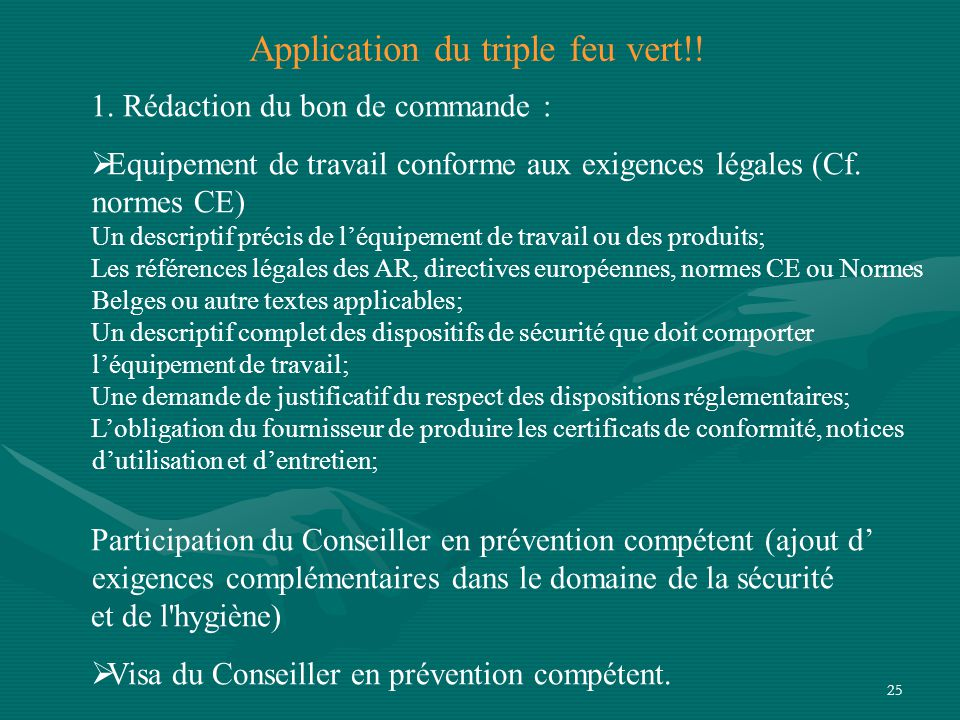 Application du triple feu vert!!