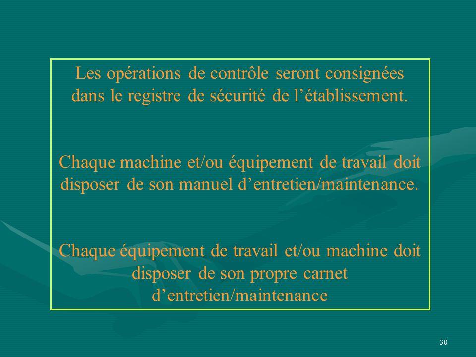 Les opérations de contrôle seront consignées dans le registre de sécurité de l'établissement.