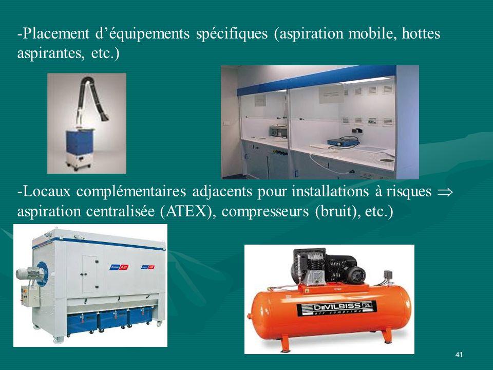 Placement d'équipements spécifiques (aspiration mobile, hottes aspirantes, etc.)