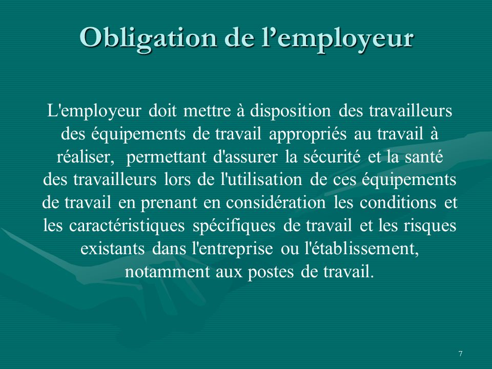 Obligation de l'employeur
