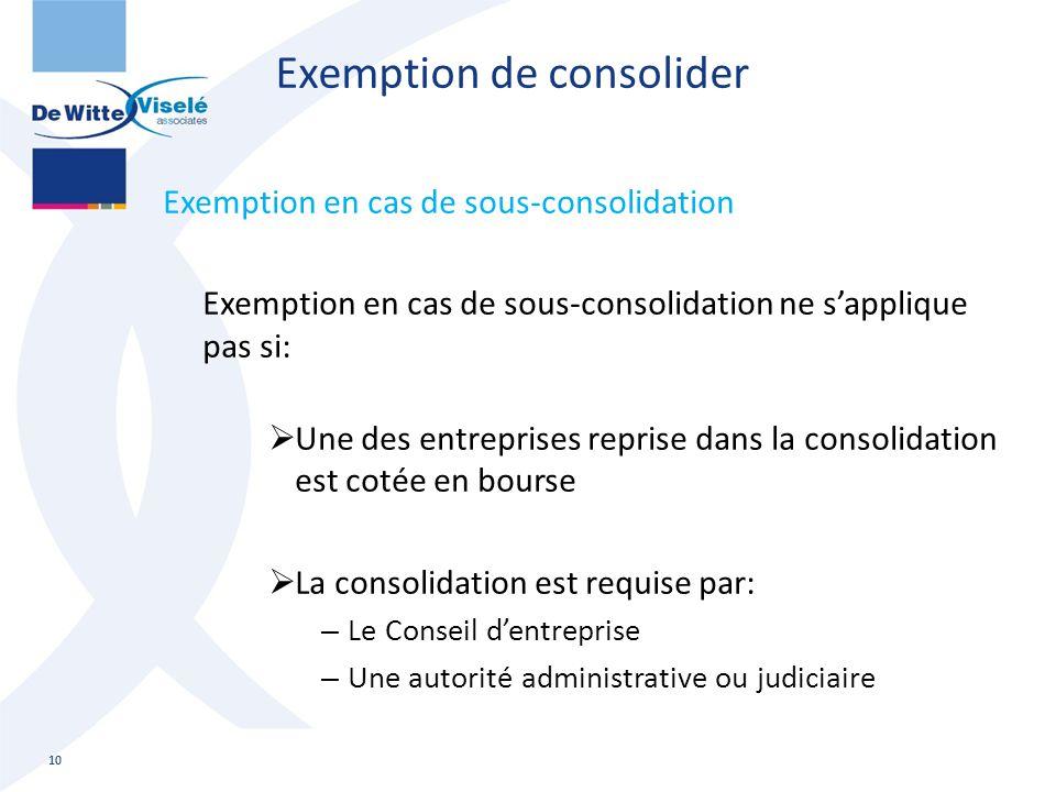 Exemption de consolider