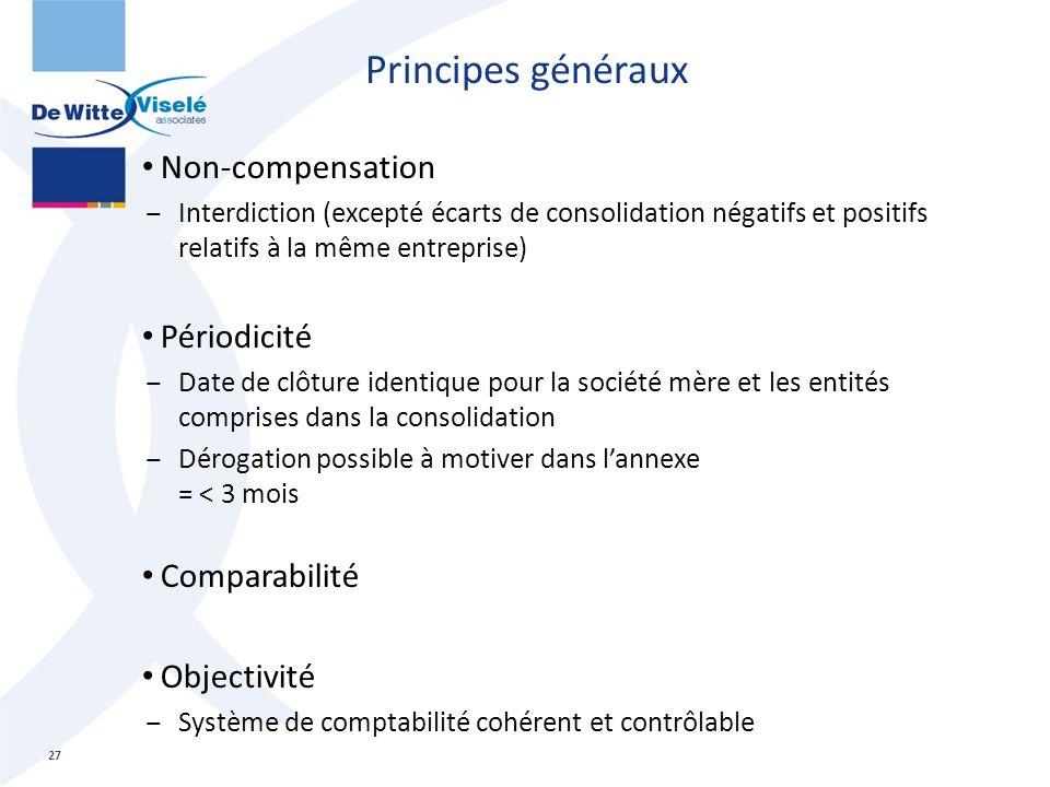 Principes généraux Non-compensation Périodicité Comparabilité