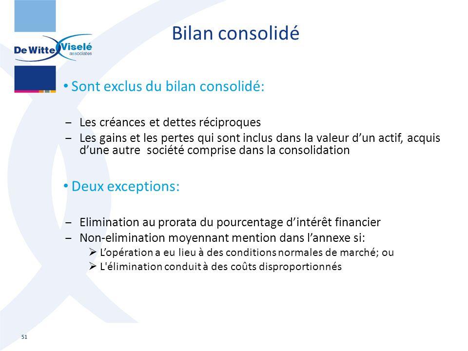 Bilan consolidé Sont exclus du bilan consolidé: Deux exceptions: