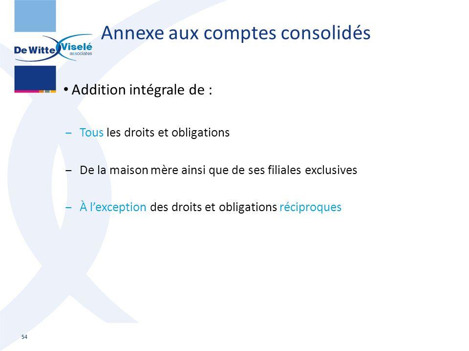 Annexe aux comptes consolidés