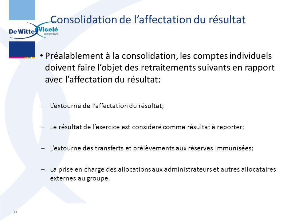 Consolidation de l'affectation du résultat
