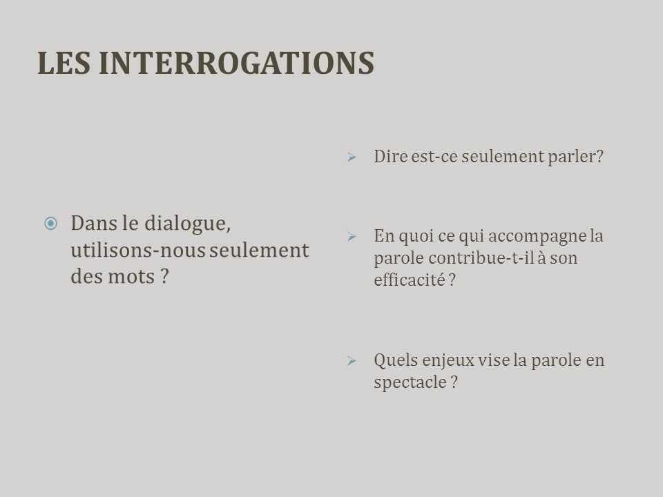 LES INTERROGATIONS Dire est-ce seulement parler En quoi ce qui accompagne la parole contribue-t-il à son efficacité