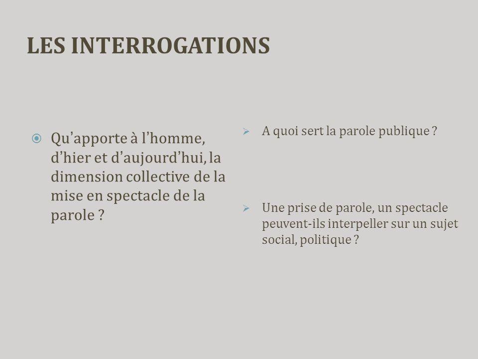 LES INTERROGATIONS A quoi sert la parole publique Une prise de parole, un spectacle peuvent-ils interpeller sur un sujet social, politique