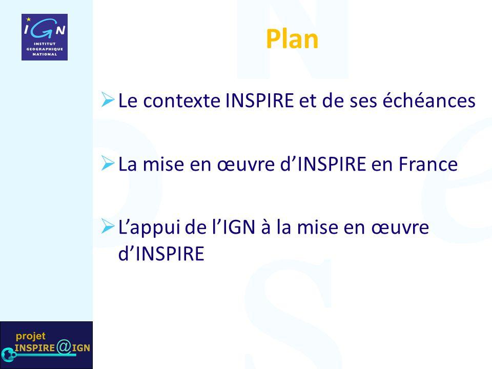Plan Le contexte INSPIRE et de ses échéances