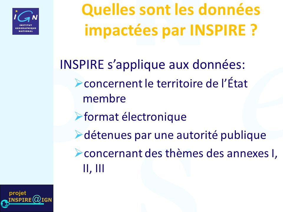 Quelles sont les données impactées par INSPIRE