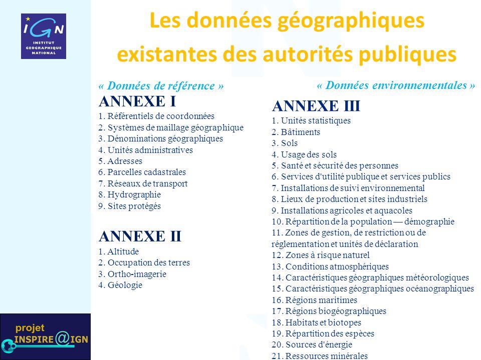 Les données géographiques existantes des autorités publiques