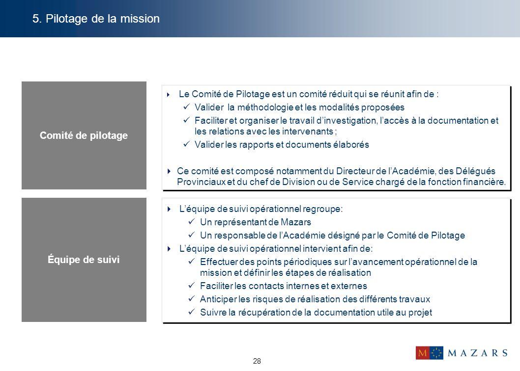 5. Pilotage de la mission Comité de pilotage Équipe de suivi