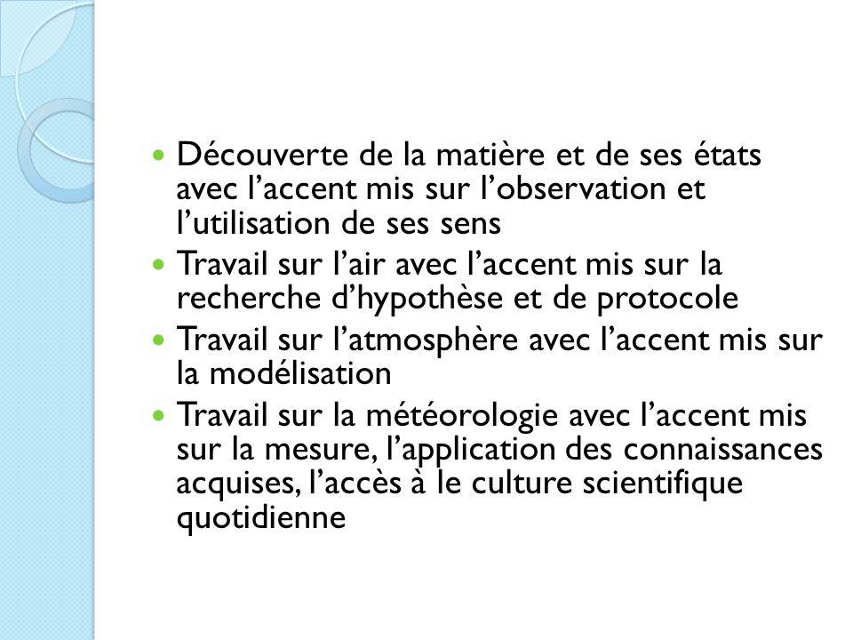 Découverte de la matière et de ses états avec l'accent mis sur l'observation et l'utilisation de ses sens