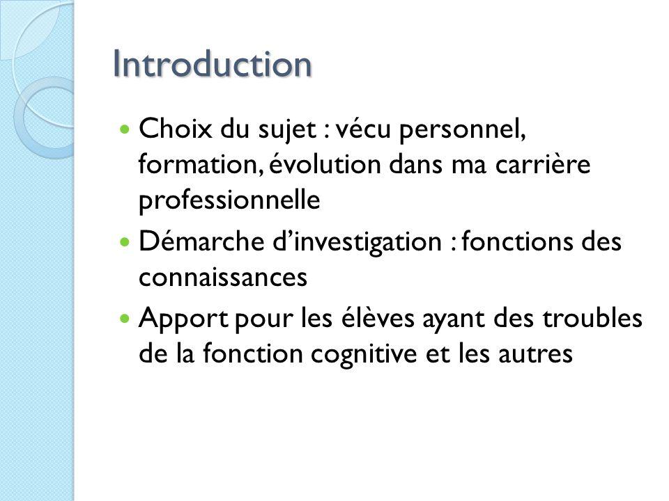 Introduction Choix du sujet : vécu personnel, formation, évolution dans ma carrière professionnelle.