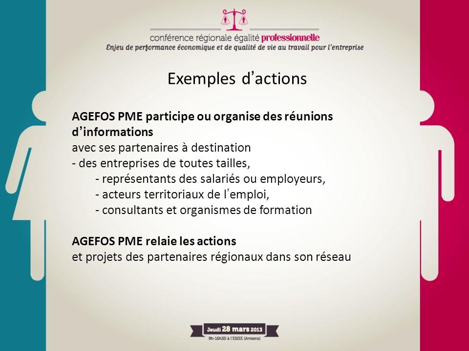 Exemples d'actions AGEFOS PME participe ou organise des réunions d'informations. avec ses partenaires à destination.
