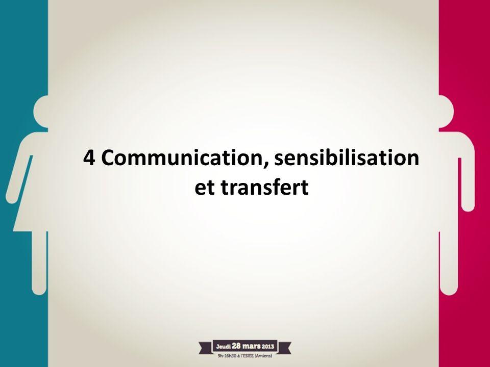 4 Communication, sensibilisation et transfert