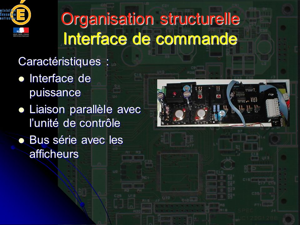 Organisation structurelle Interface de commande