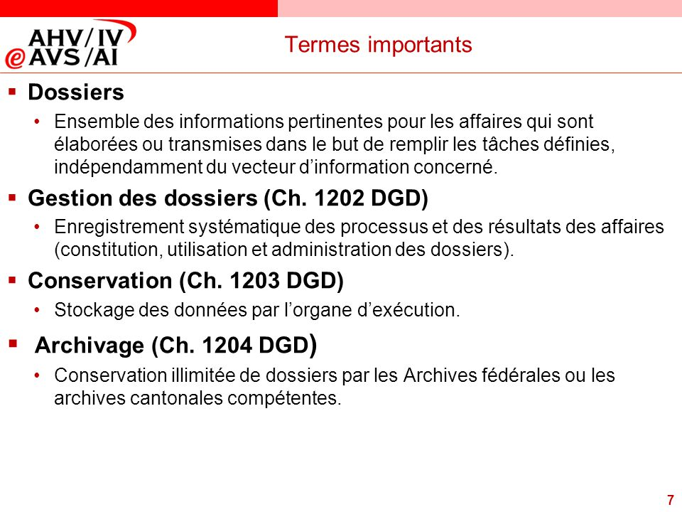 Archivage (Ch. 1204 DGD) Termes importants Dossiers