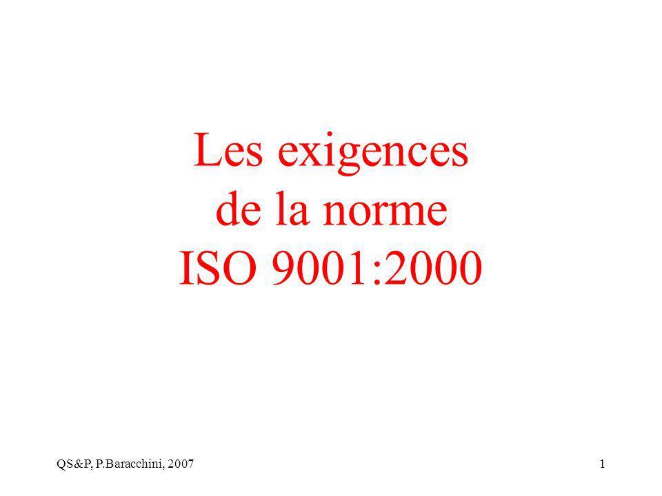 Les exigences de la norme ISO 9001:2000