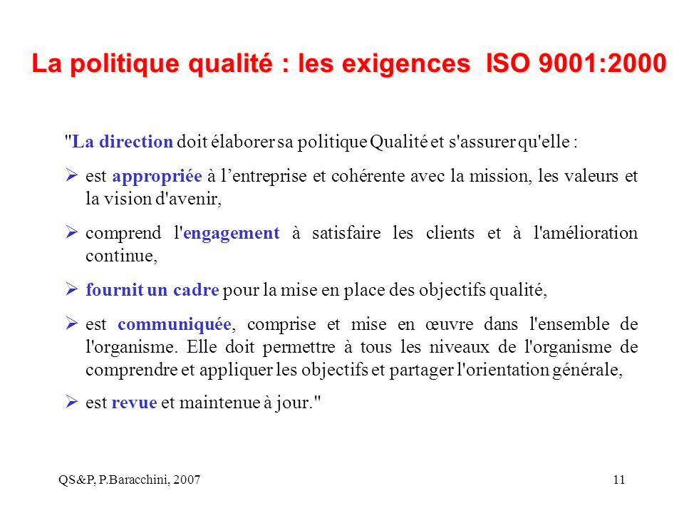 La politique qualité : les exigences ISO 9001:2000