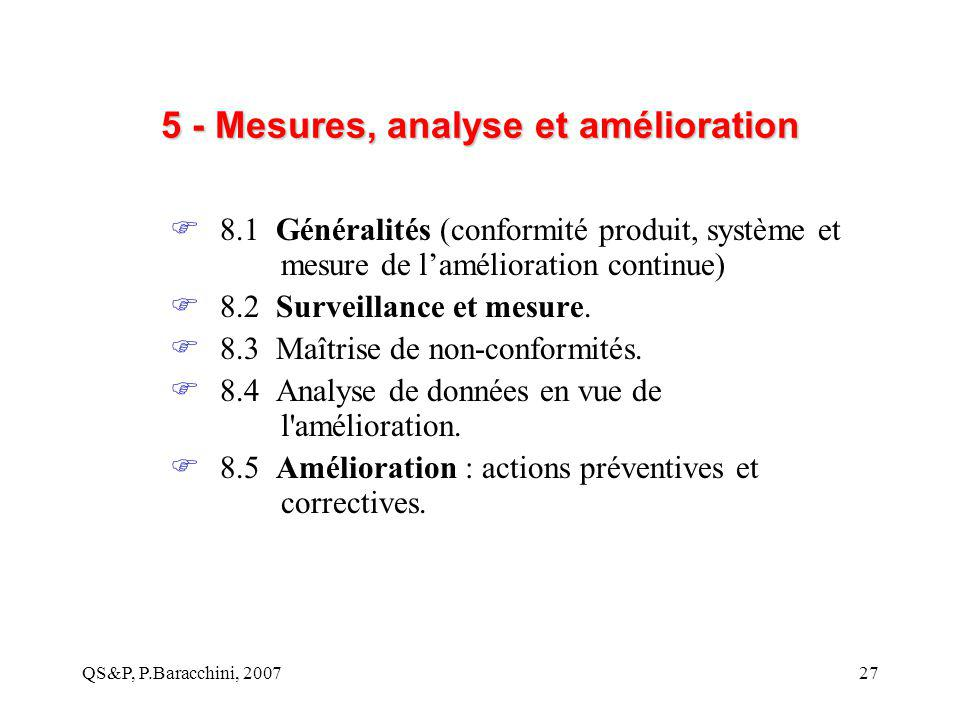 5 - Mesures, analyse et amélioration