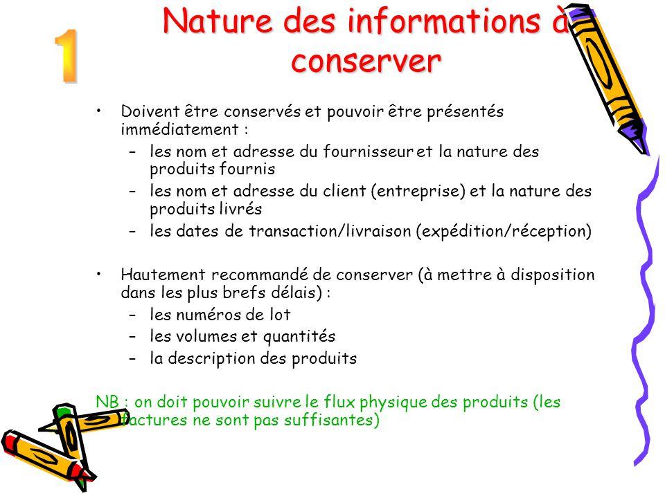 Nature des informations à conserver