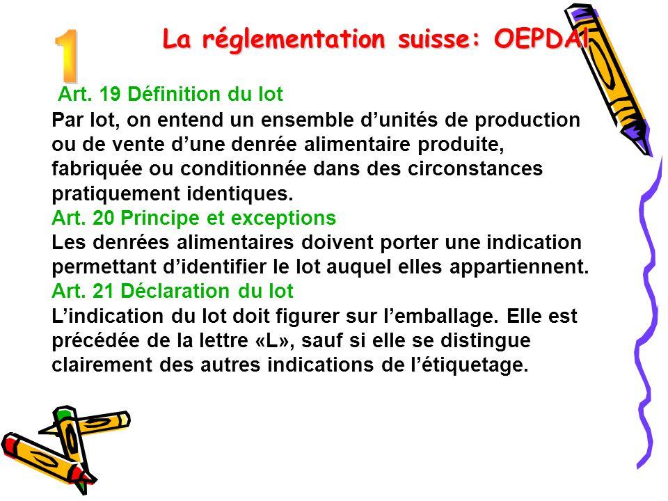 La réglementation suisse: OEPDAl