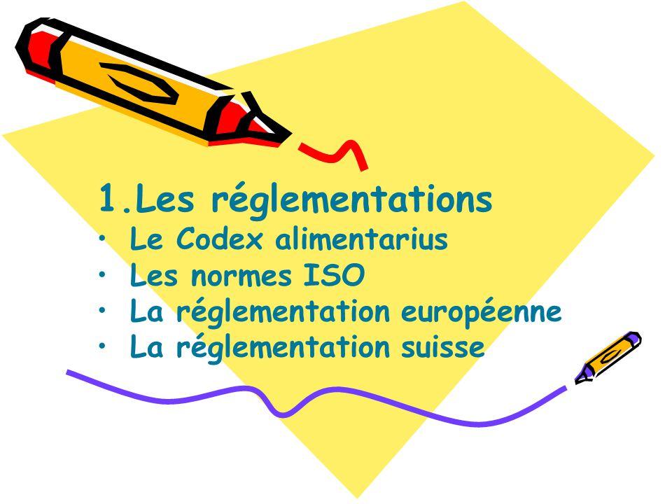 Les réglementations Le Codex alimentarius Les normes ISO