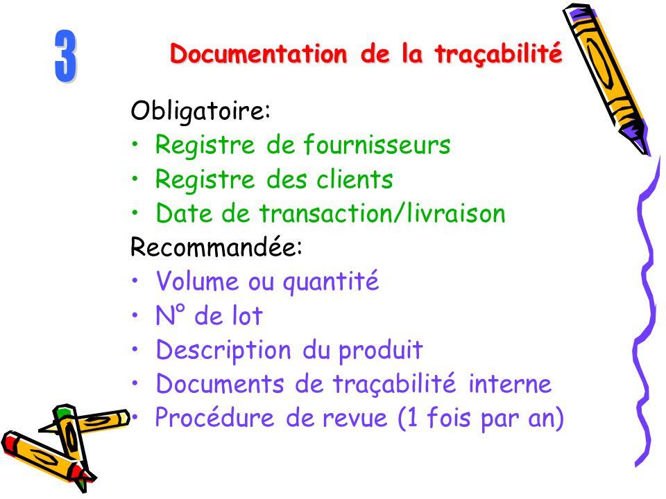 Documentation de la traçabilité