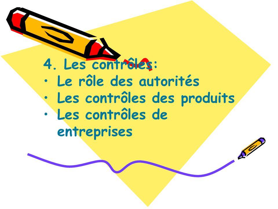 4. Les contrôles: Le rôle des autorités Les contrôles des produits Les contrôles de entreprises