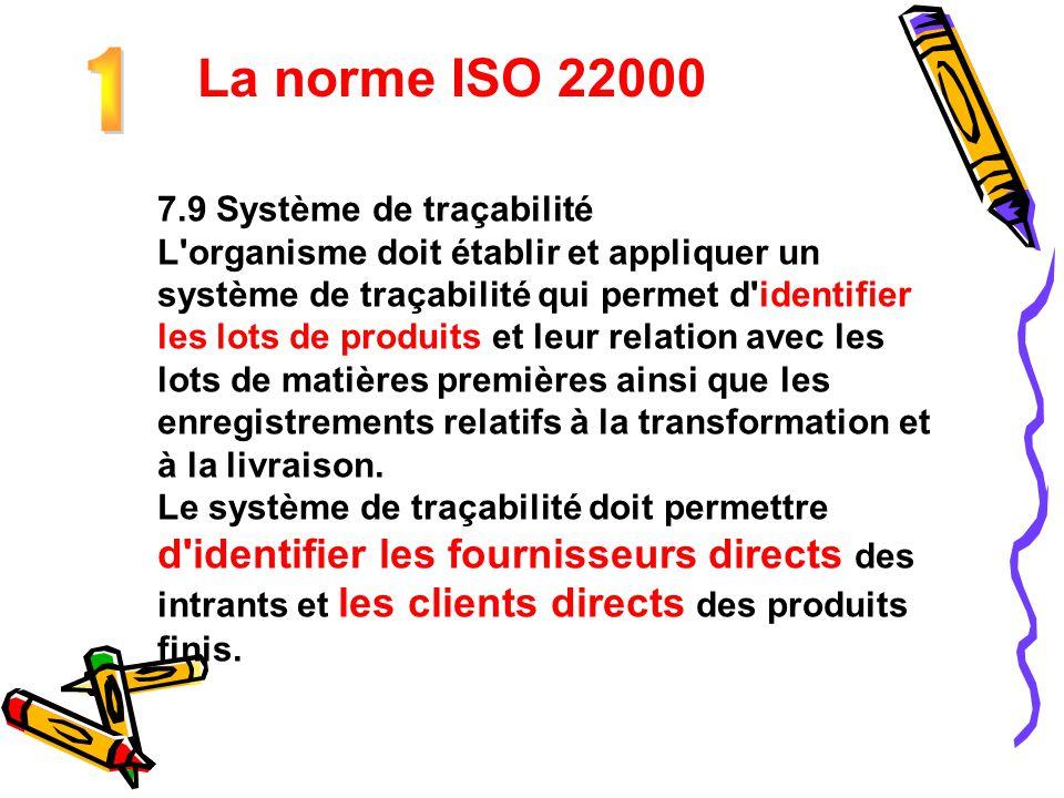 La norme ISO 22000 1 7.9 Système de traçabilité
