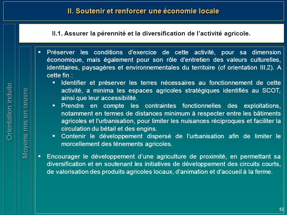 II. Soutenir et renforcer une économie locale