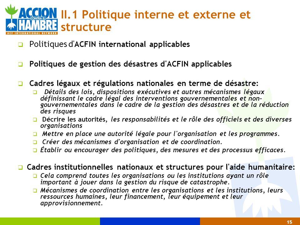 II.1 Politique interne et externe et structure