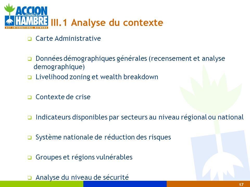 III.1 Analyse du contexte