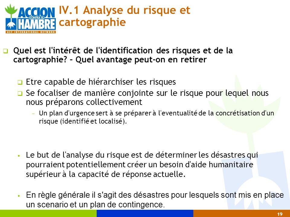 IV.1 Analyse du risque et cartographie