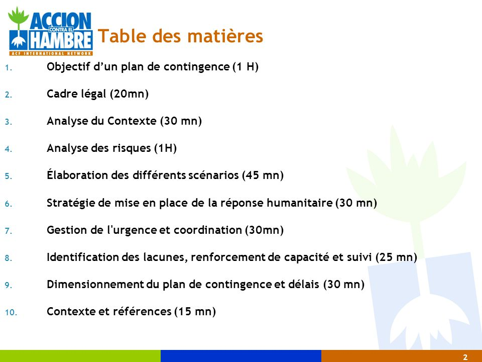 Table des matières Objectif d'un plan de contingence (1 H)