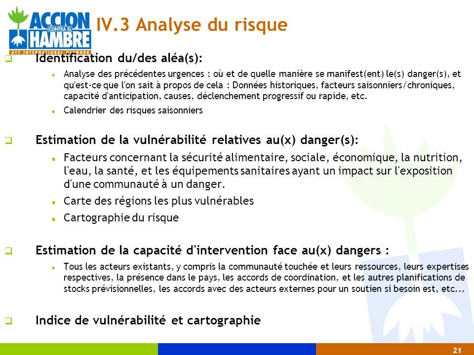 IV.3 Analyse du risque Identification du/des aléa(s):