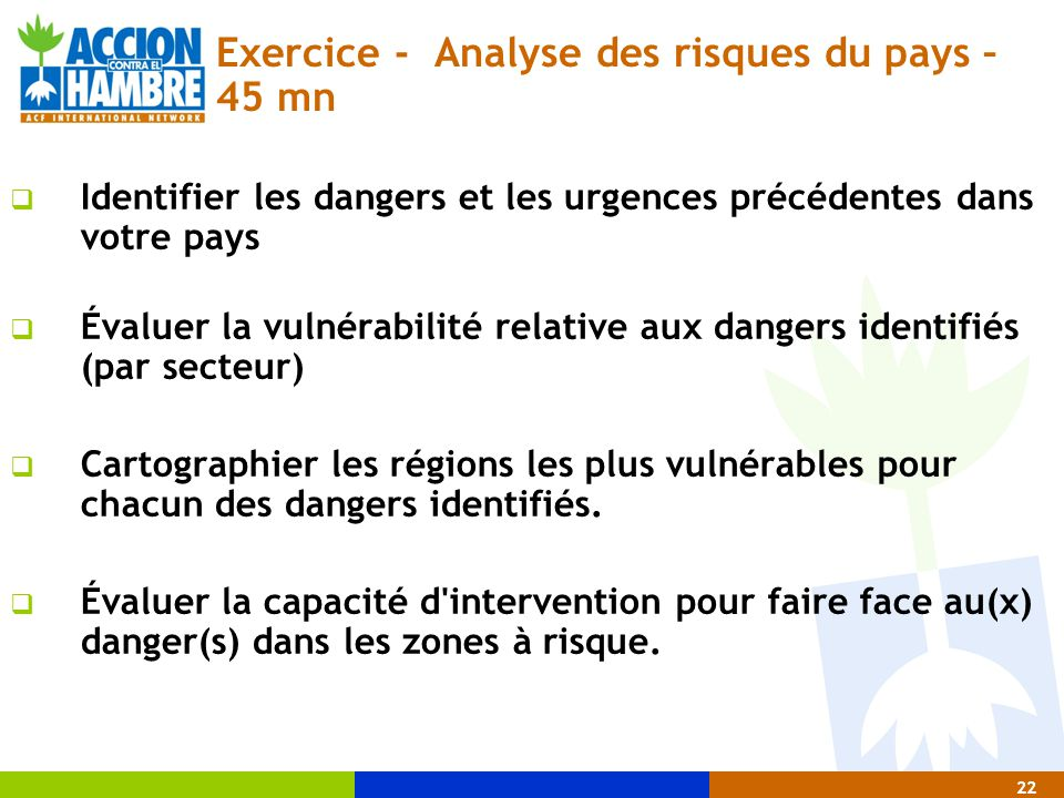 Exercice - Analyse des risques du pays – 45 mn