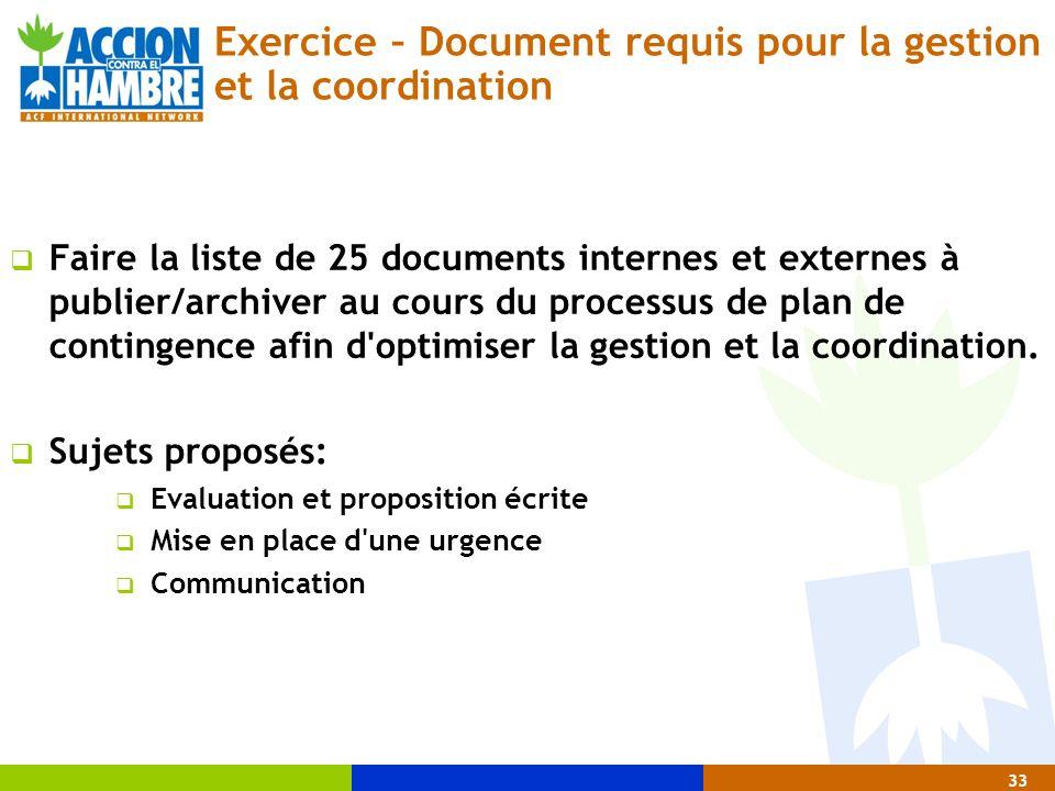 Exercice – Document requis pour la gestion et la coordination