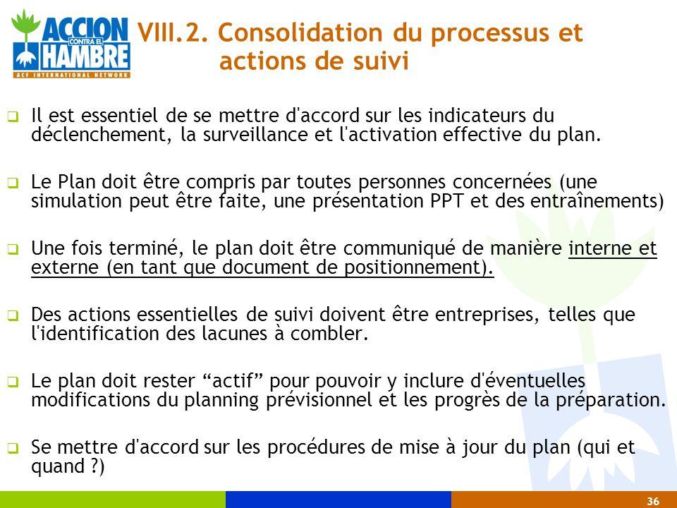 VIII.2. Consolidation du processus et actions de suivi