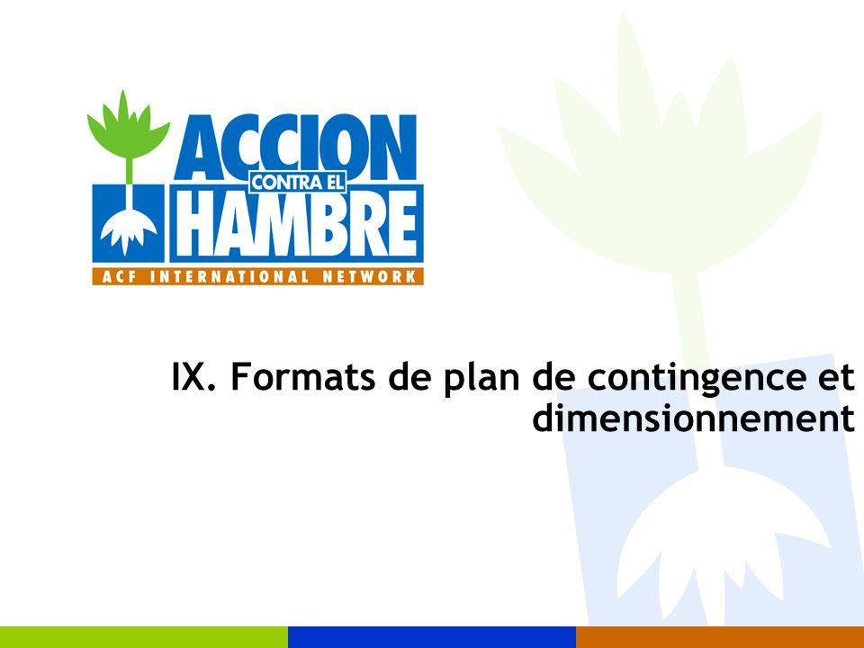 IX. Formats de plan de contingence et dimensionnement