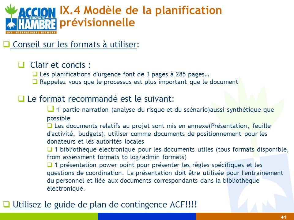 IX.4 Modèle de la planification prévisionnelle